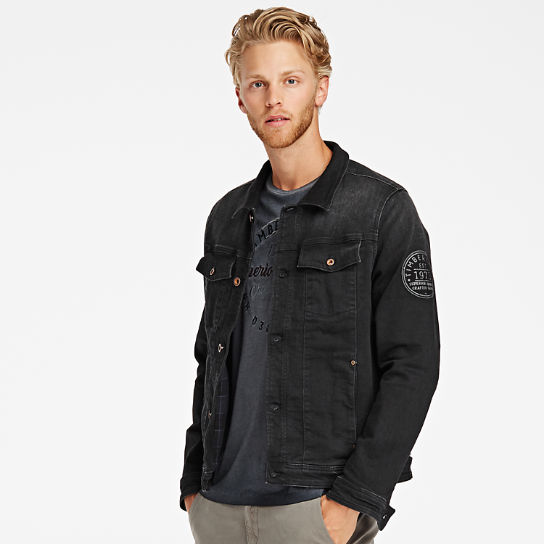 Men Timberland Black Denim Trucker Jacket A1VCD001