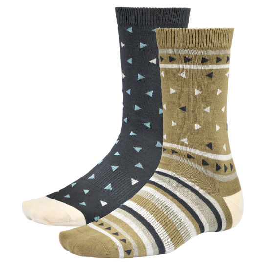 Men Timberland Geometric Pattern Crew Socks (2-Pack) A1E61005