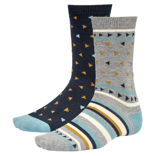Men Timberland Geometric Pattern Crew Socks (2-Pack) A1E61433